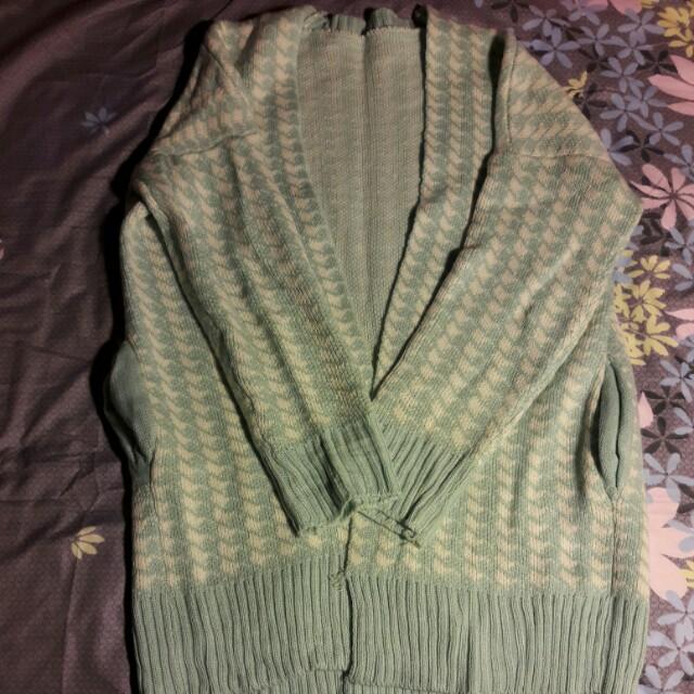 湖水綠千鳥紋開襟毛衣外套