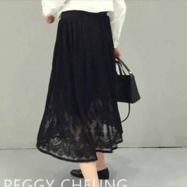 全新黑色蕾絲長裙