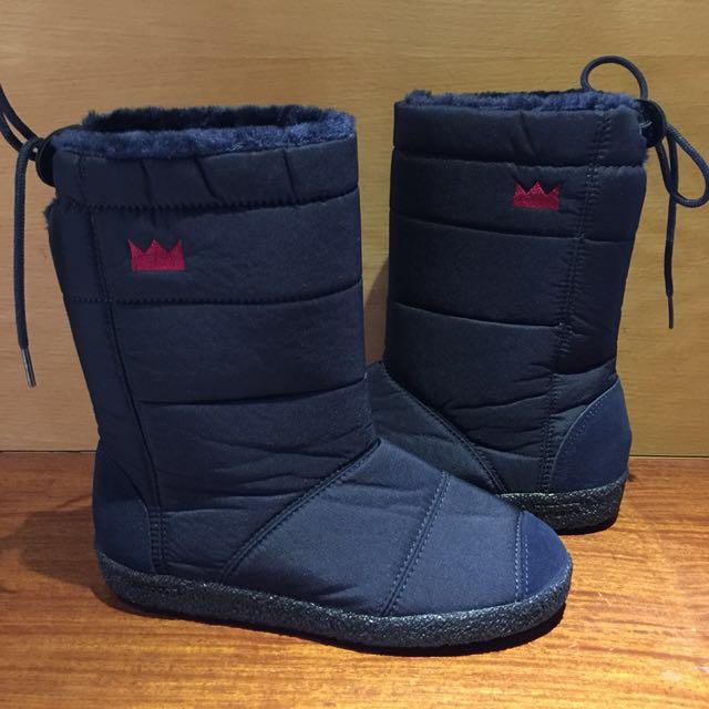 全新正韓 小皇冠輕羽絨刷毛防水中筒雪靴,藍色25號