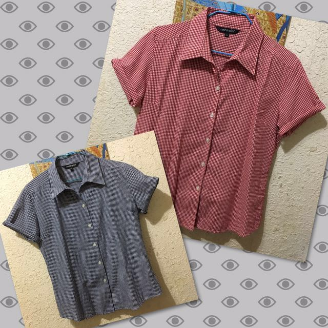 格紋短袖襯衫 藍/紅 #限時免運費