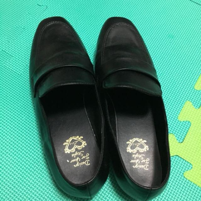 免運 黑色 平底鞋 包鞋 紳士鞋 25號