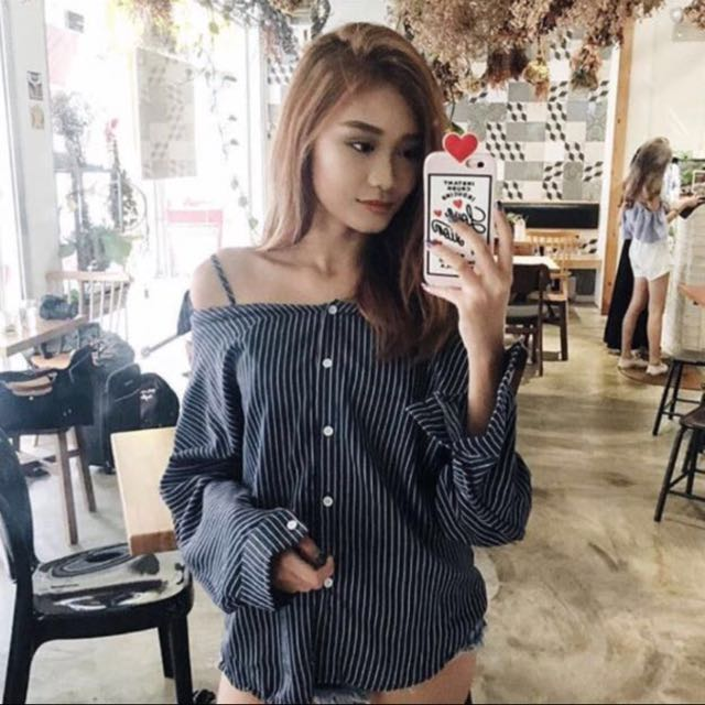 9a95bddaa94654 ✨ blue dark blue oversized Pinstripe stripes button down Off ...