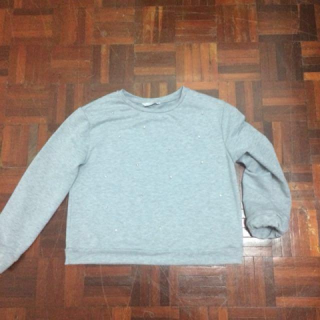 💕 Padini Top / Grey Beaded Sweatshirt