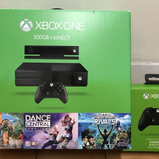 新 Xbox One 500G+Kinect 2支手把 含三種遊戲都