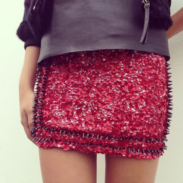 Aje Coronet Blood Red Sequin Mini Skirt 8 RRP$399