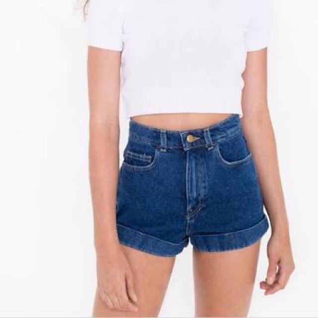 American Apparel Dark Blue Denim High Waisted Shorts