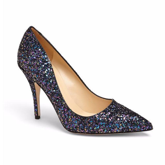 As New KATE SPADE 'Licorice Too' Black Multi Glitter Heels 6 36