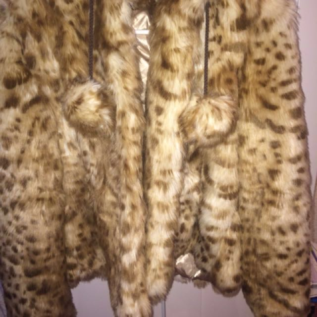 Asos Women's Fur PomPom Leopard Jacket