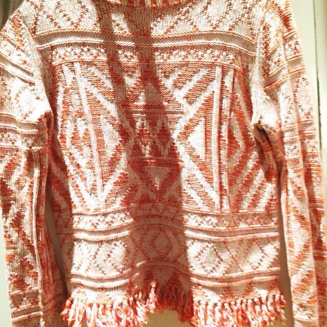 Asos Women's Woven Knit Orange And White Aztec Patterned Knit Jumper With Tassel Fringed Hem