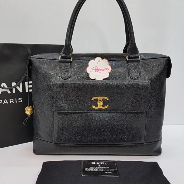 Authentic Chanel Vintage Caviar Document/Briefcase Bag With 24K Plated Golden Hardware  {{ Only For Sale }} ** No Trade ** {{ Fixed Price Non-Neg }} ** 定价 **