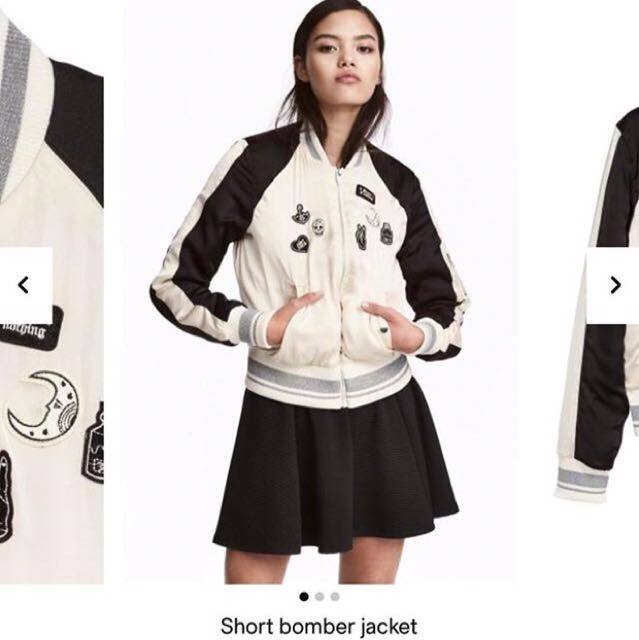 Authentic H&M Bomber Jacket with Patches XS/S