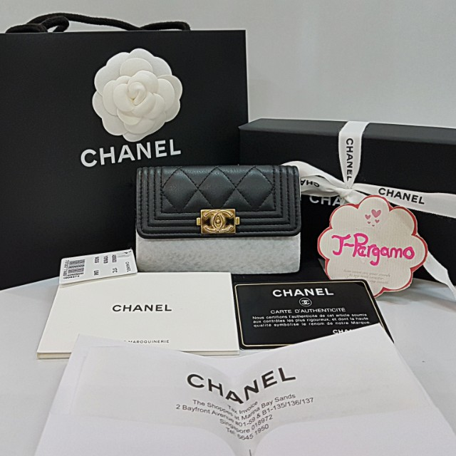 Authentic LNIB Chanel Boy Quilted Calf Leather Card Holder GHW {{ Only For Sale}} ** No Trade ** {{ Fixed Price Non-Neg }} ** 定价 **