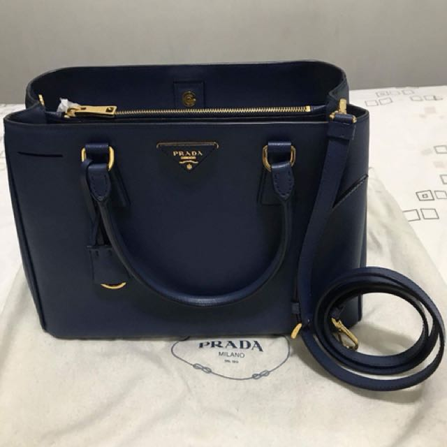 Authentic Prada Saffiano Lux Bluette Excellent Condition with complete inclusions and store receipt