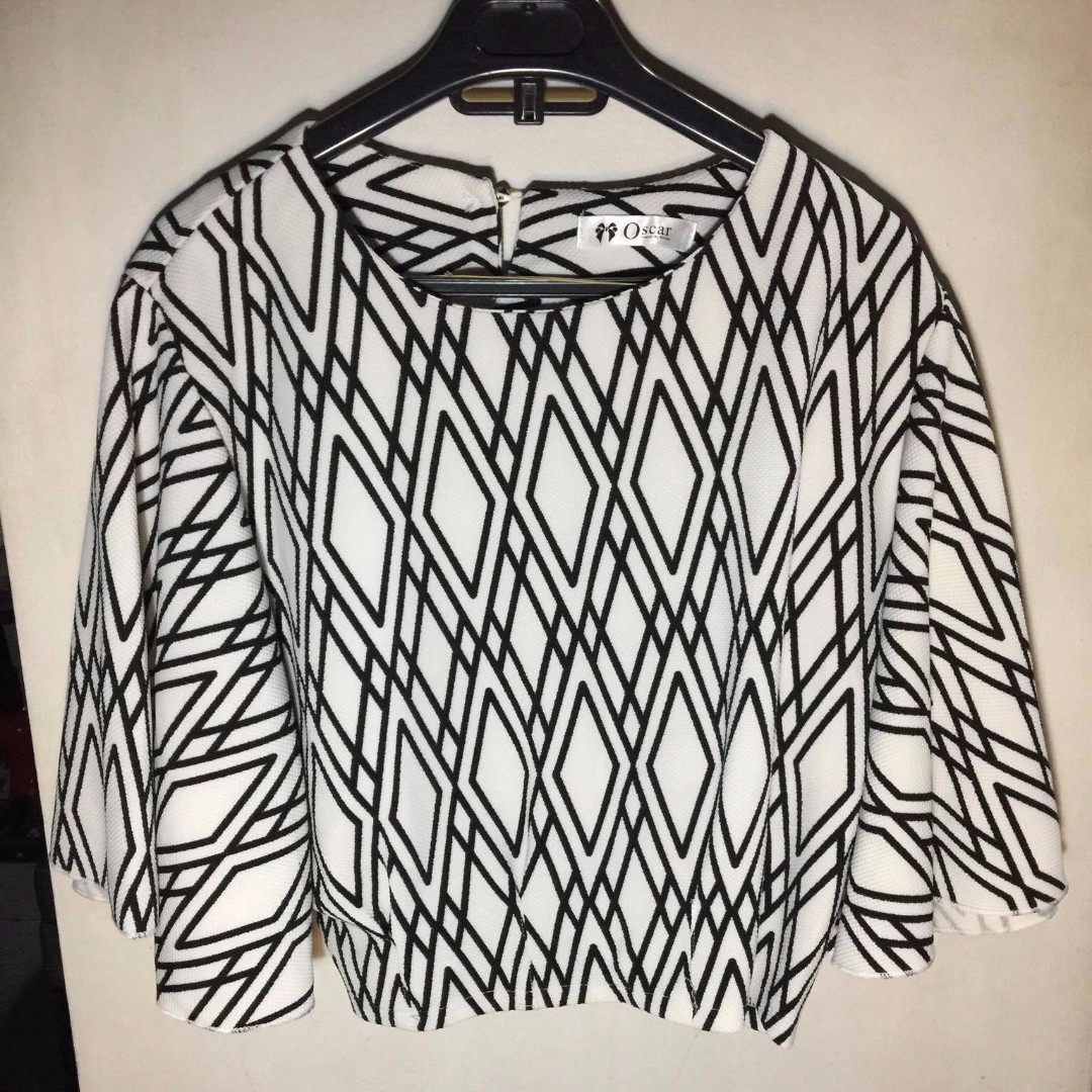 Black and White Batwing Top