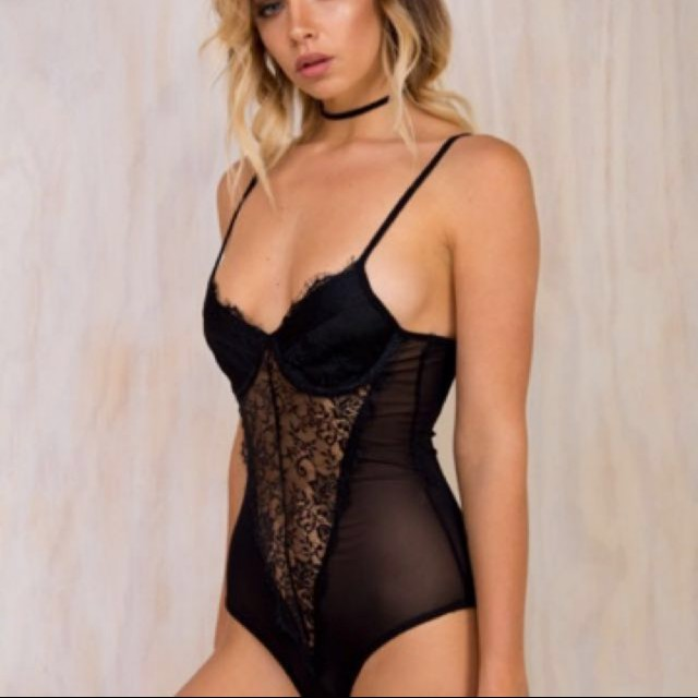 Black lace bodysuit with cups