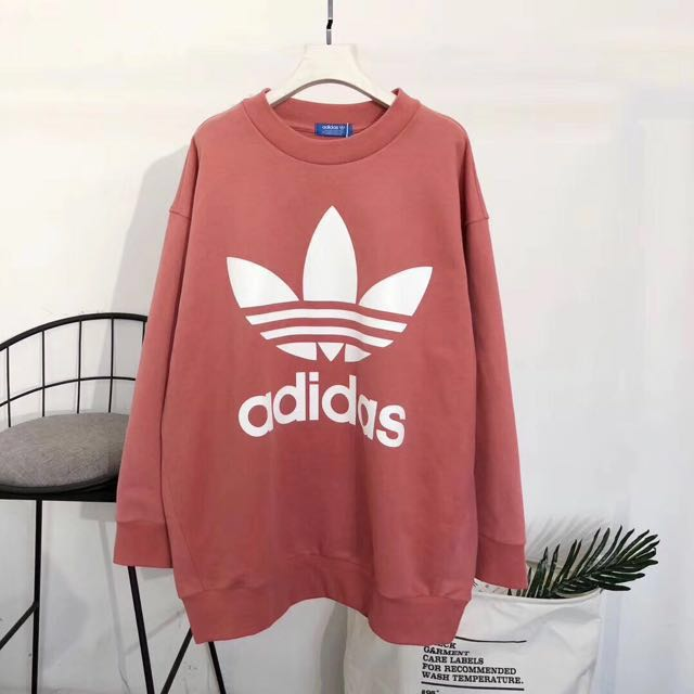 f8f4e171758 BN Adidas oversized hoodie sweater dusty pink