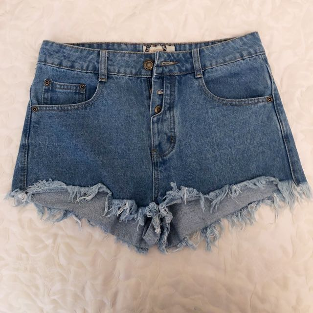 Boohoo Cutoff Denim Shorts with Button up detailing
