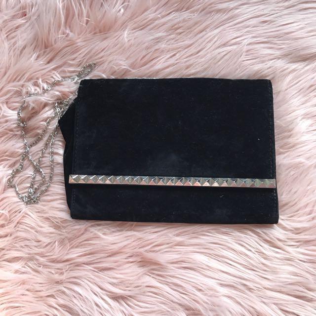 Brand New Black Velvet Studded Clutch Bag