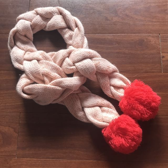 Brand New Cotton On Knitted Pom Pom Scarf Pink