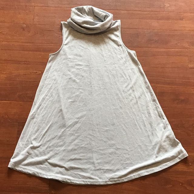 Brand New Cotton On Rolled Neck Grey And White Striped Dress Size XS