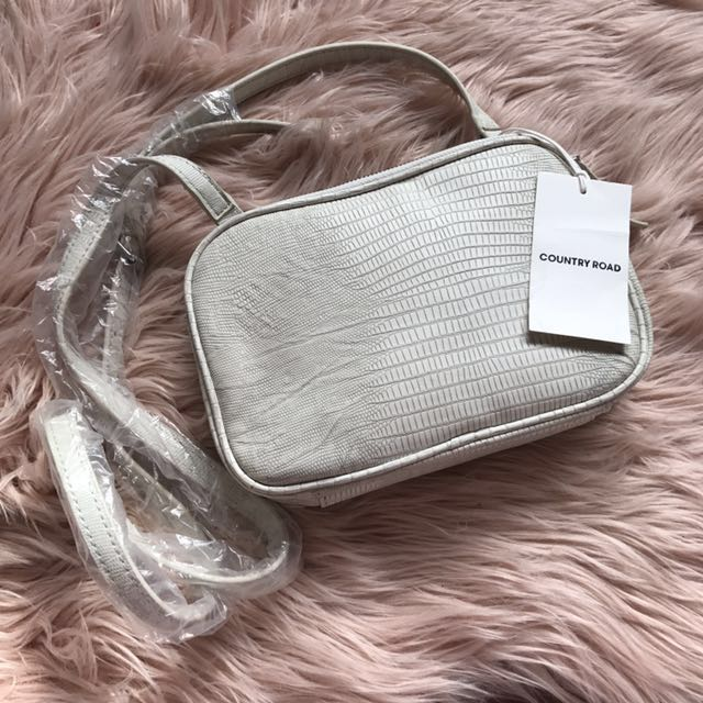 Brand New Country Road Off White Leather Snakeskin Print Bag