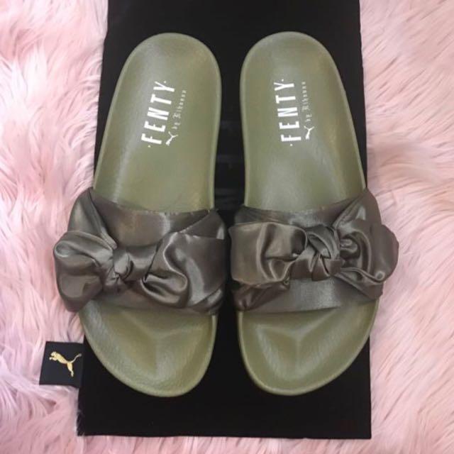 Brand New Puma X Fenty By Rihanna Satin Bow Slides Olive Branch Green Size US 9.5