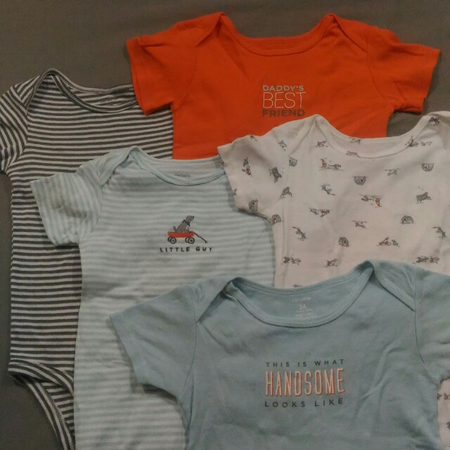 Bundle: Five Carter's Onesies for Baby Boys, 24 mos.