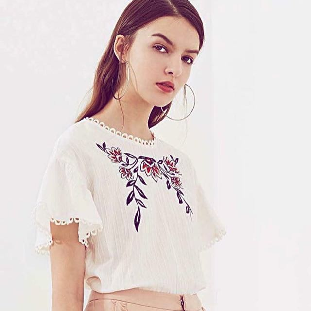 Classy White Embroidered Top