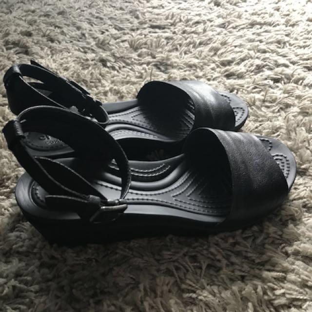 Crocs authentic black leather wedge