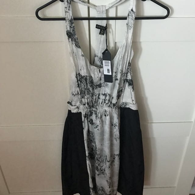 Decjuba Black & White Marble Dress in Size XS