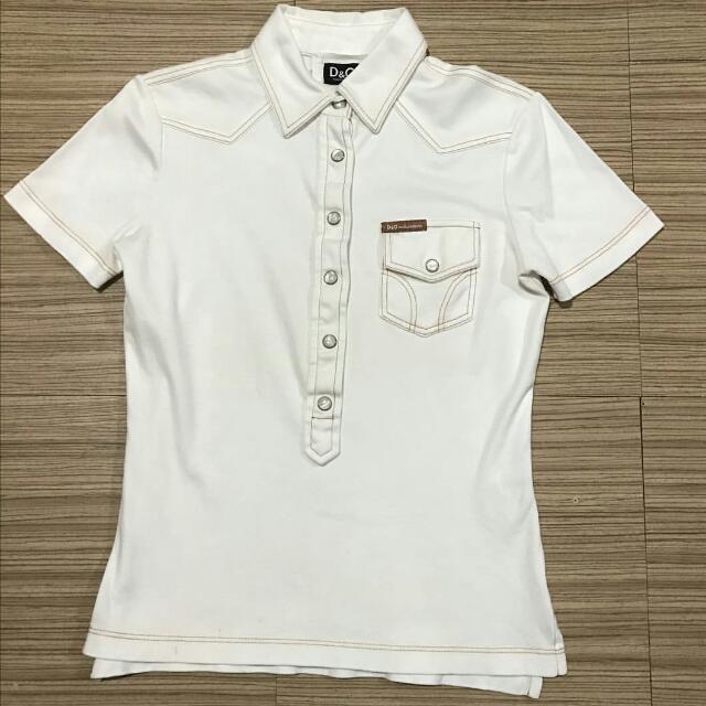 D&G Button Down Off White Shirt