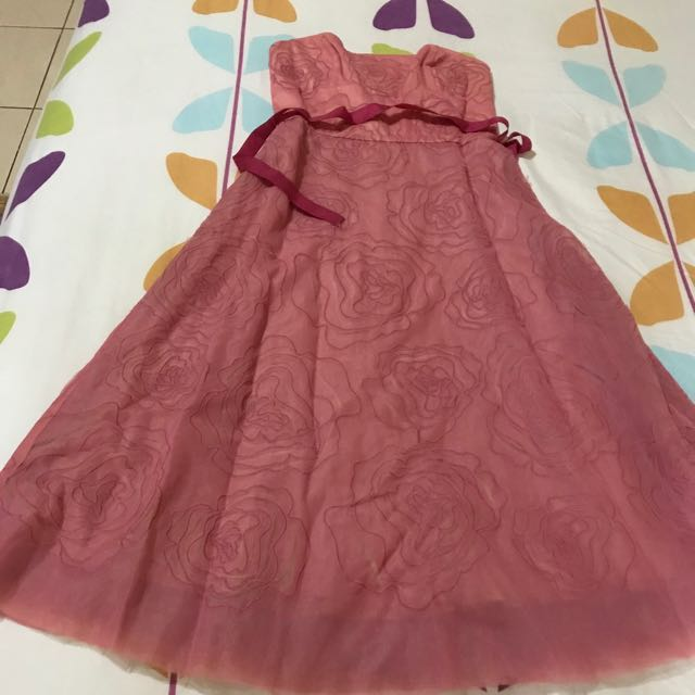 Dusty pink strapless gown/dress