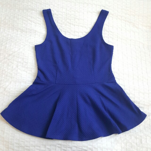 F21 Royal blue peplum top - M