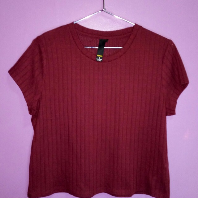 Factorie Burgundy Ribbed Tee