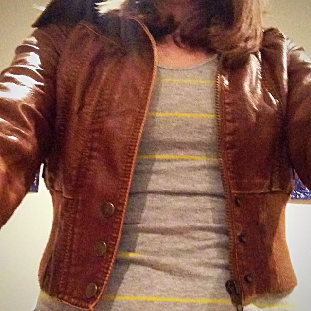 faux brown leather jacket by tempt