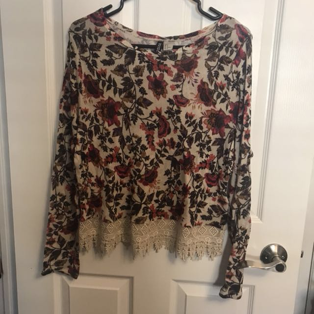 Floral Sweater with Lace Trim