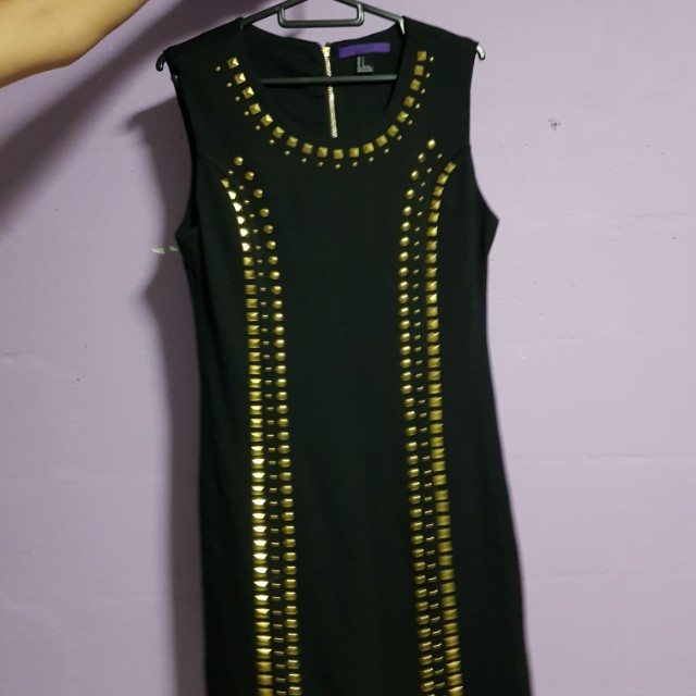 Forever 21 Black Gold Studed Dress Womens Fashion Clothes