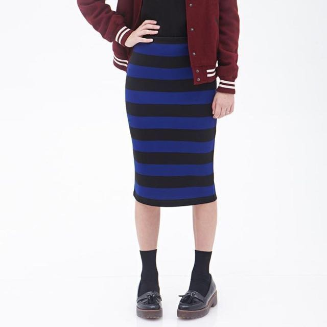 f615c650275d Forever 21 Striped Pencil Skirt, Women's Fashion on Carousell