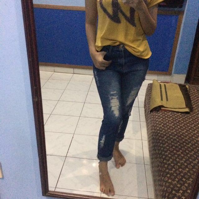 Free ongkir jabodetabek boyfriend jeans highwaist