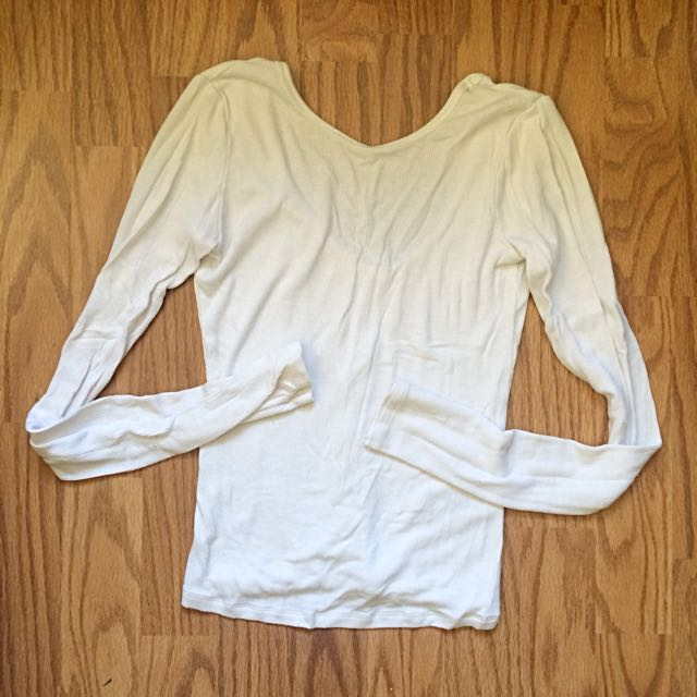 Garage ribbed low back white shirt