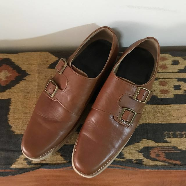Genuine Italian Leather Monk Strap Shoes