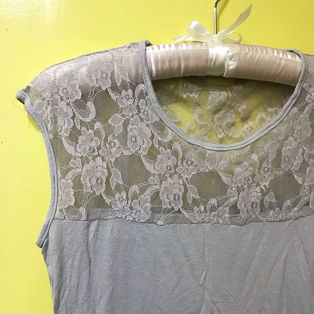 Gray lace top