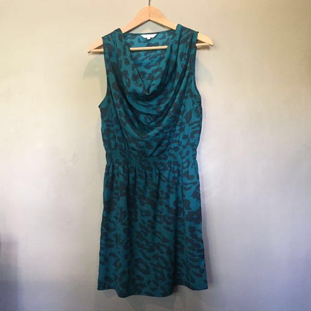 Green printed dress