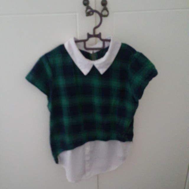 Green Tartan Button Blouse