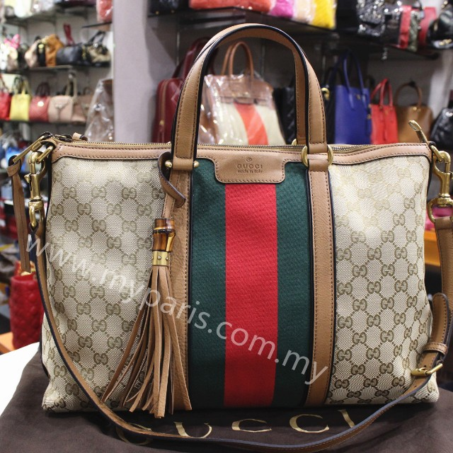 14036c043e Gucci Beige GG Canvas Rania Original GG Top Handle Bag