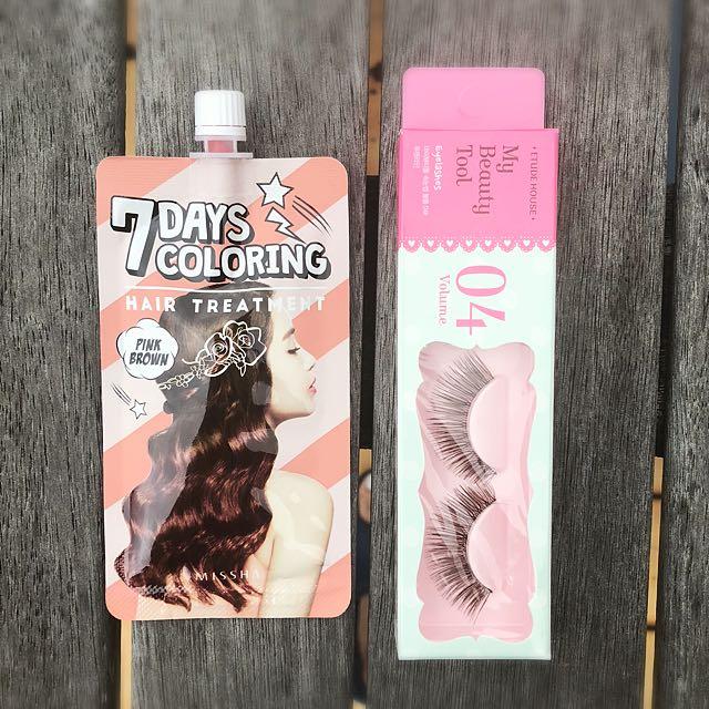 Hair dye and fake eyelash bundle- Etude House