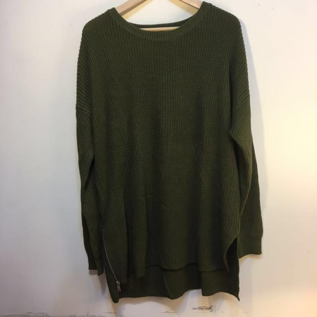 H&M 墨綠色針織毛衣