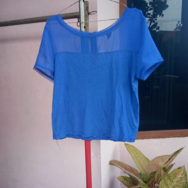 H&m sheer blue crop top