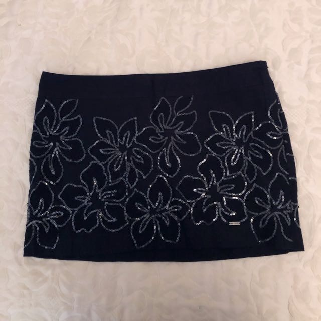 Hollister Navy Mini Skirt with Sequin Detailing and Side Zipper