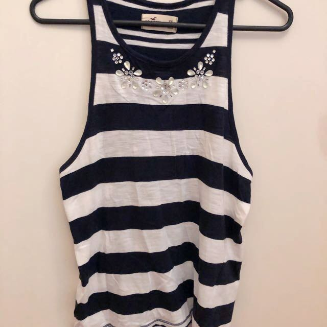 Hollister Stripe Tank Top with Jewel Detailing